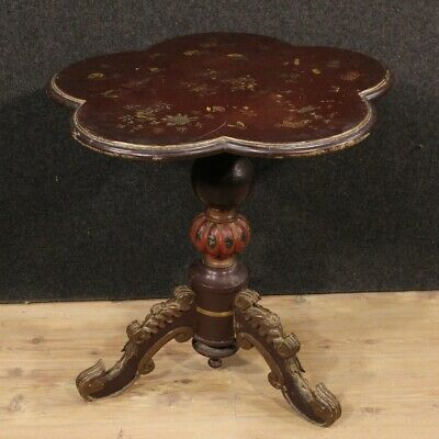 Table Bas Table Basse Bois Verni D'or Chinoiserie Style Ancien 900