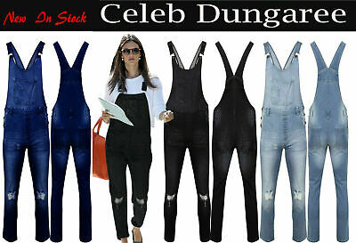 Womens Ladies Denim Dungarees Slim Fit Ripped Light Black Wash