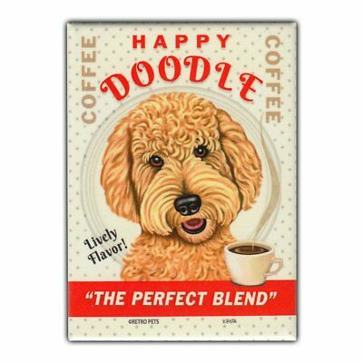 Retro Pets Refrigerator Magnet - Happy Doodle Coffee, Goldendoodle - Advertising