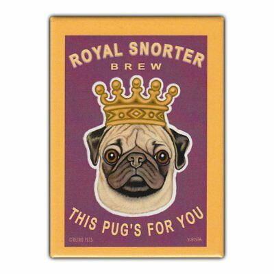 Retro Pets Refrigerator Magnet - Royal Snorter Brew (Beer), Pug - Advertising