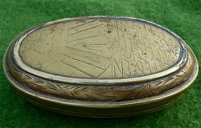 Dutch Brass Tobacco Box With Hand Wrought Engraving & Dated 1732 Inside