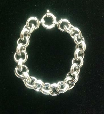 "QVC Italy MILOR Sterling Silver Milgtain Textured Rolo Link Bracelet 7"" Long"
