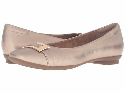 4a1e43ba735 CLARKS Womens  Candra Glare  Gold Metallic Leather Flats Sz 7.5 M - 231805