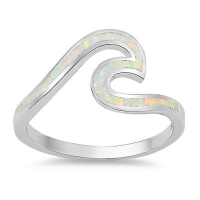 Wave Ocean Beach White Opal .925 Sterling Silver Ring sizes 4-12