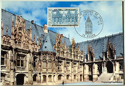Yt 1806 FRANCE Postcard Maximum ROUEN THE PALACE OF JUSTICE 1974