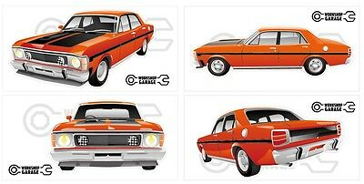 FORD FALCON XW GT HO 351 -  STICKER PACK True BLue 4 LARGE STICKERS