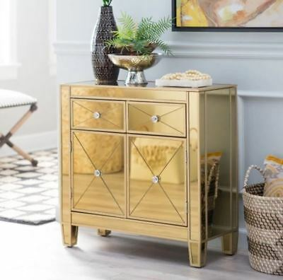 Mirrored Nightstand Tall Dresser Drawer Chest Small Entryway Table Gold  Mirror
