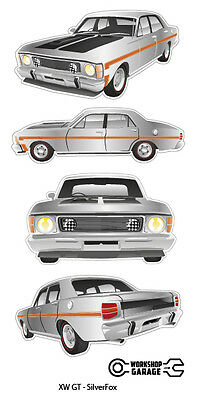 FORD FALCON XW GT HO 351 -  STICKER PACK Silver Fox 4 LARGE STICKERS