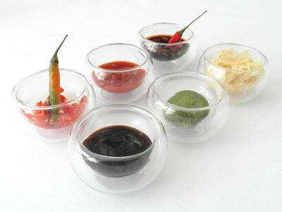 6 X Sushi small bowl Double-Walled Glass Ingredients Sesame Soy Ginger Wasabi