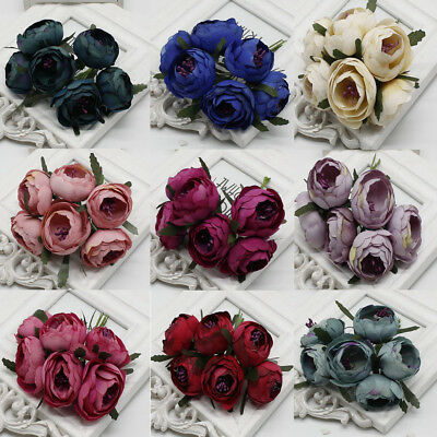 6Pcs Artificial Silk Peony Flower Rose Wedding Bridal Bouquet Party Decoration