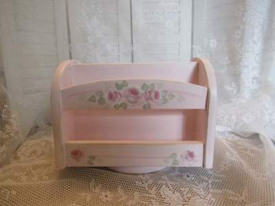 hp Pink shabby  Roses Wood desk revolving Caddy cottage chic