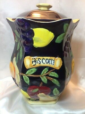 NONNI'S Biscotti Cookie Jar Canister Hand Painted Tuscany Raised Fruit