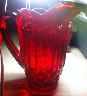 """Vintage L.E. Smith Glass Moon and Stars Pattern Red 8"""" Water Serving Pitcher"""
