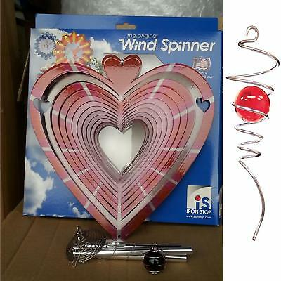"10""/25cm HEART Wind Spinner Spiral Tail Wind Chime Iron Stop Sun Catcher Hook"