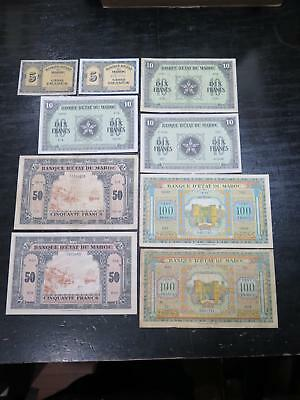 Morocco Maroc First Issue 1943-44 100 50 10 5 Francs Wwii Banknote Collection