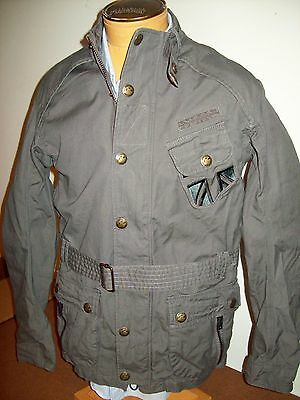 Superdry Cotton Moto Belted Military  Field Jacket Coat NWT 2XL $250 Slim Fit