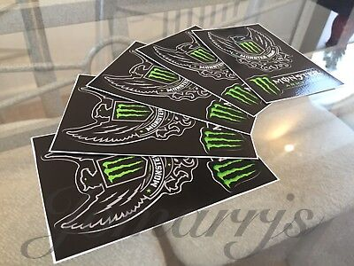 5 Authentic Monster Army Energy Drink Athlete Sponsor 2-in-1 Sticker Decal BMX