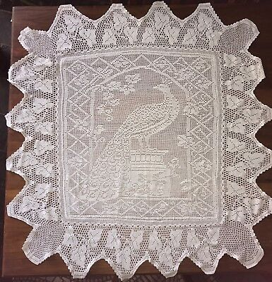 Vintage Filet Crochet Lace Peacock Tablecloth ? Mary Card Grapevine