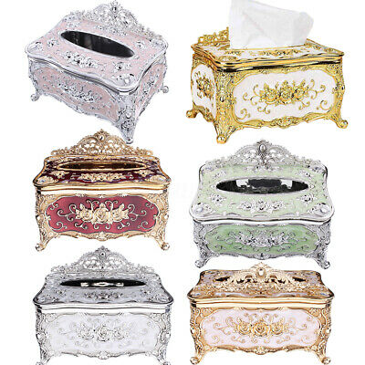 Elegant Gold Tissue Box Cover Chic Napkin Case Holder Hotel Home Room Office Car
