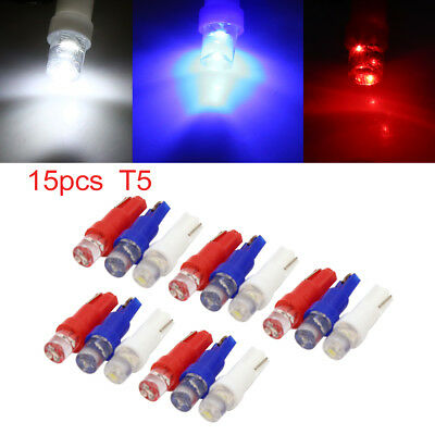 15pcs 12V T5 Red White Blue LED Instrument Panel Dash Board Light Bulb Internal