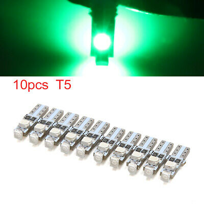 10pcs 12V T5 1206 SMD 3 LED Green Dash Gauge Instrument Panel Light Internal
