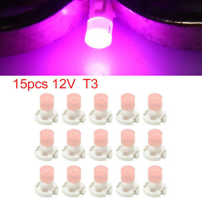 15pcs 12V Pink T3 Car Wedge LED Dash Gauge Instrument Panel Light Bulb Interior