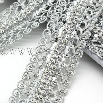 SILVER CRYSTAL Rhinestone trimming,edging,trim,sequin,beads,EMBELLISHMENT,CRAFTS