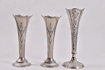 3x Art Nouveau Deco Silver Plated White Metal Bud Vase Vases Wedding Centrepiece