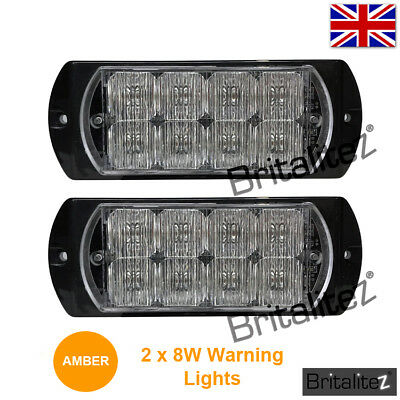 2 x Amber Van Safety Lights, Special Deal Price, Limited Time, LED, Bright 8W