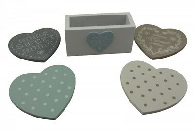 Shabby Chic Heart Coasters in Stand - Duck egg - Grey -Cream coaster Set- Gift