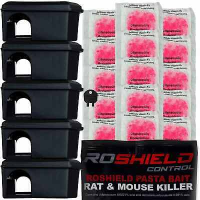 Roshield 5 x Mouse Safety Control Boxes & 15 x Pasta Mice Poison Killer Sachets