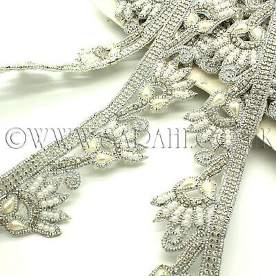 WHITE PEARL CRYSTAL TRIM Rhinestone trimming,edging,sequin,EMBELLISHMENT,SEWING