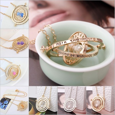 Harry Potter Time Turner Hermione Granger Spin Hourglass Golden Pendant Necklace