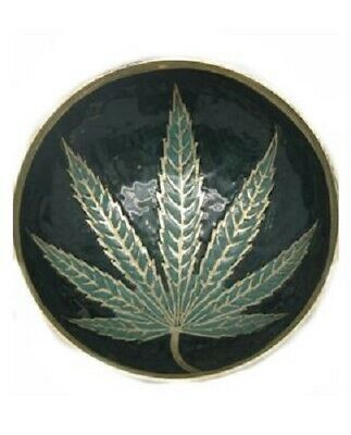 Brass Leaf Bowl - Tobacco Smoke Cigarettes Tray Smoking LARGE 11.4cm