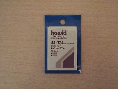 HAWID MOUNTS 44 x 27,5 mm BLACK PACK OF 50, STAMPS MOUNTS, BOXED.