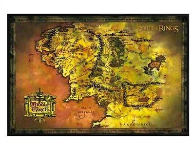 Poster 61 x 91,5 cm cadre noir brillant Middle Earth Map de Lord of the Rings