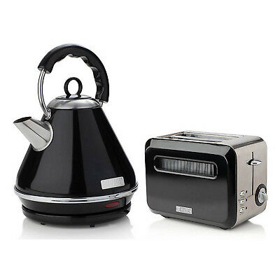 Haden Boston Black Pyramid 1.7 Litres Electric Kettle And 2 Slice Bread Toaster