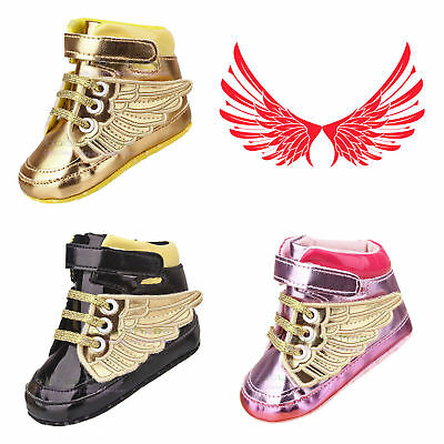 Newborn to 18 Months Baby Boy Girl Soft Sole Pram Shoes PreWalker Wing Trainers