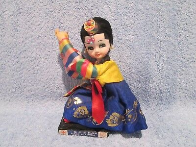 "BEAUTIFUL SITTING KOREAN CEREMONIAL DOLL 7"" High; BLUE & YELLOW COSTUME; KOREA"