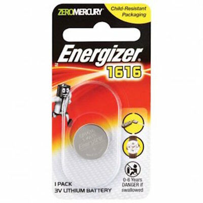 Energizer Coin Cell Battery CR1616. 3v Lithium Battery -Car Remote - FREE POST