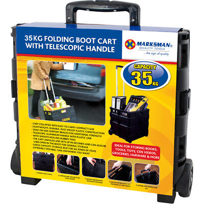 Large Folding Boot Cart with Telescopic Handle 35kg Capacity Black Trolley Books