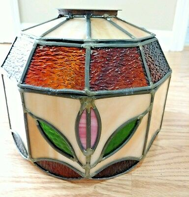 Light Fixture Shade Stained Glass Replacement Lighting Lamp  Leaded Flower Motif