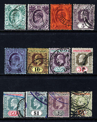 STRAITS SETTLEMENTS KE VII 1904-10 Complete Definitive Set SG 127 to SG 138 VFU