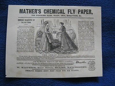 Mather's Chemical Fly Paper Advertising Paper Hulme Manchester Vintage Rare