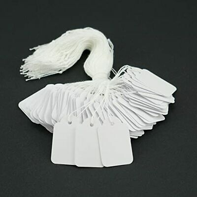 Quality Pre Strung Tie-On Tags / Labels White - Jewellery Gifts Various Sizes