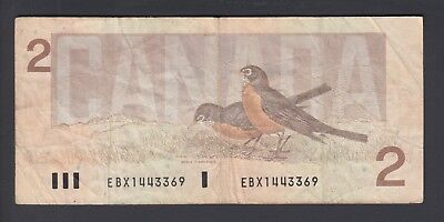 1986 $2 Dollars Replacement - Thiessen Crow - Prefix EBX - Bank of Canada - F121