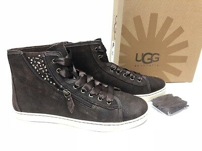 f629305f855 UGG AUSTRALIA BLANEY Crystals Zip High Top Sneaker Brown Chocolate 1008490