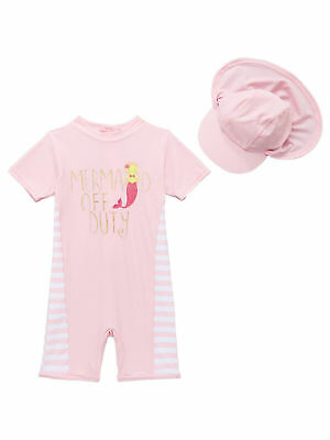 MINI V BY VERY BABY GIRLS SUNSAFE MERMAID SWIMSUIT AND HAT PINK (ref 467)