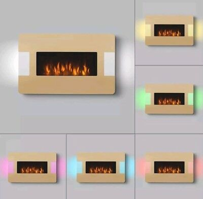 """Wall Mounted Electric Fire Place Remote & Led Side Lights Large """"gold"""" 1Kw / 2Kw"""