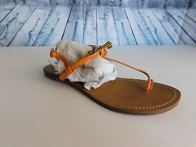 fa2103a586576 Steve Madden Daisey Orange Metal Gold Bow T-Strap Thong Flat Sandals - Size  7.5